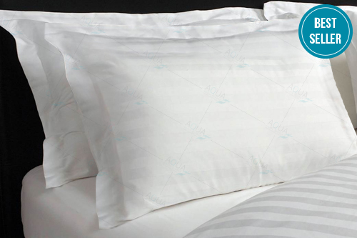 Pillow Case-White Strip  with 2 inches border